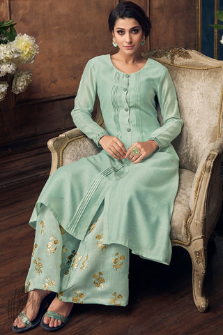 Pastel Blue Muga Silk Kurti with Palazzo Pants