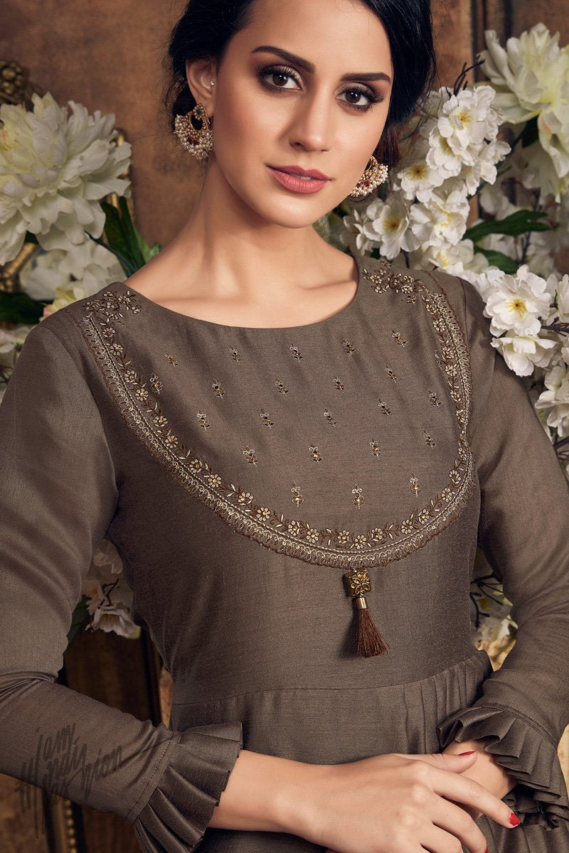 Brown Muga Silk Kurti with Palazzo Pants