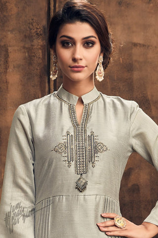 Silver Gray Muga Silk Kurti with Palazzo Pants