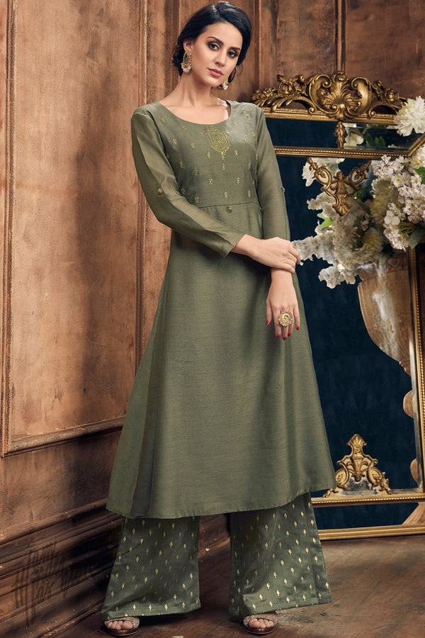 Olive Green Muga Silk Kurti with Palazzo Pants