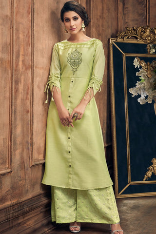 Mint Green Muga Silk Kurti with Palazzo Pants