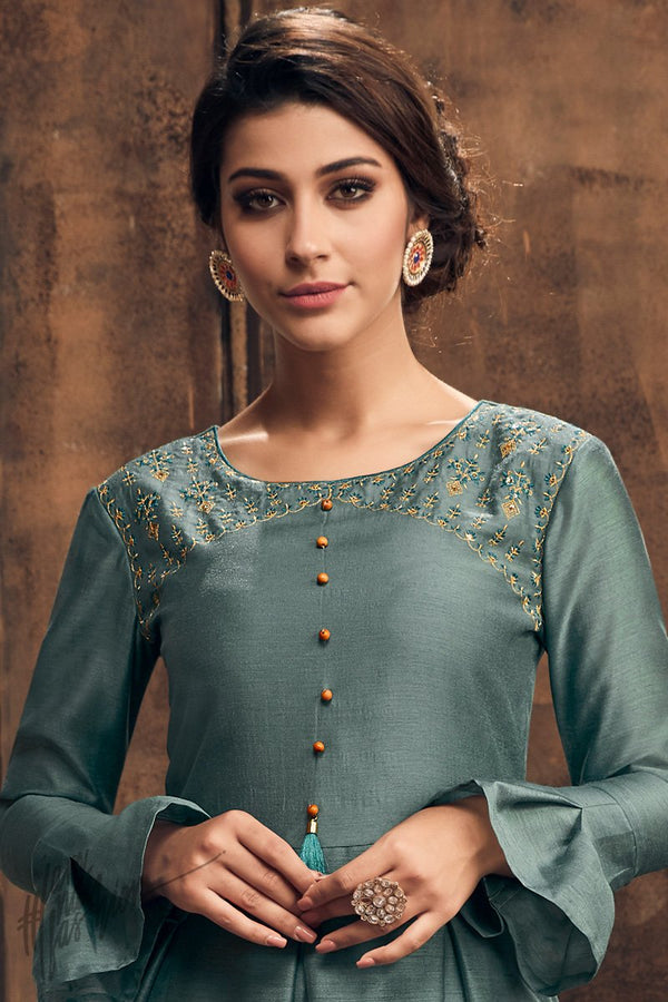 Beetle Green Muga Silk Kurti with Palazzo Pants