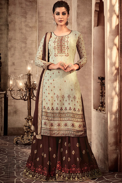 Light Green and Brown Viscose Muslin Sharara Suit