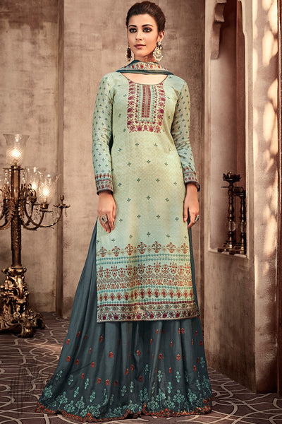 Light and Grayish Blue Viscose Muslin Sharara Suit