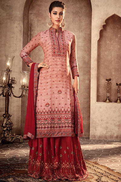 Pink and Red Viscose Muslin Sharara Suit