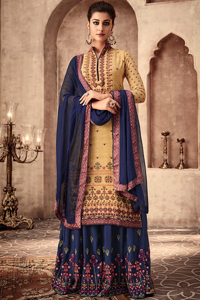 Mustard and Blue Viscose Muslin Sharara Suit