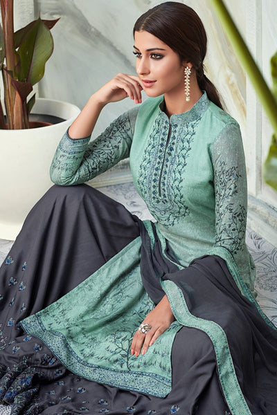 Light Mint and Gray Viscose Muslin Sharara Suit