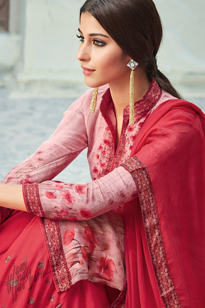 Pink Viscose Muslin Sharara Suit