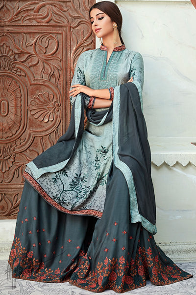 Gray Viscose Muslin Sharara Suit