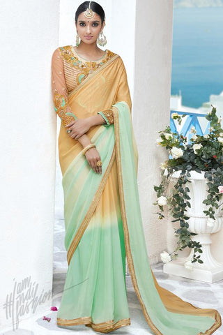 Indi Fashion Light Beige and Sea Green Georgette Party Wear Saree