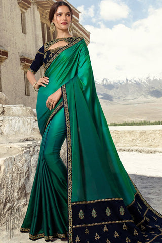 Sea Green and Navy Blue Barfi Silk Wedding Saree