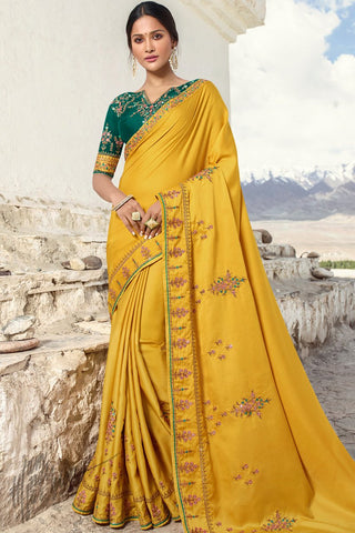 Mustard and Dark Green Barfi Silk Wedding Saree