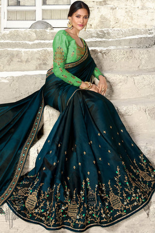 Cobalt Blue and Pista Green Barfi Silk Wedding Saree
