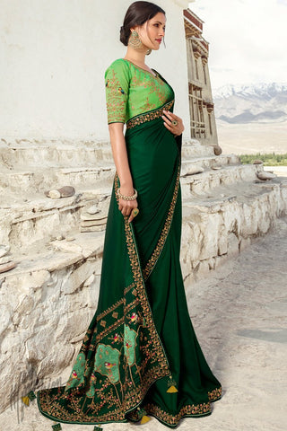 Dark and Pista Green Barfi Silk Wedding Saree