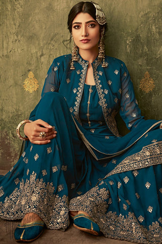 Royal Blue Georgette Koti Style Palazzo Suit