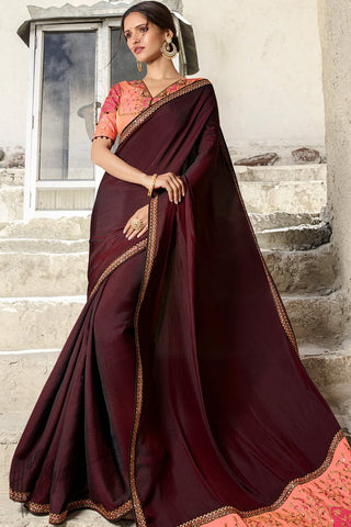 Wine and Peach Barfi Silk Wedding Saree