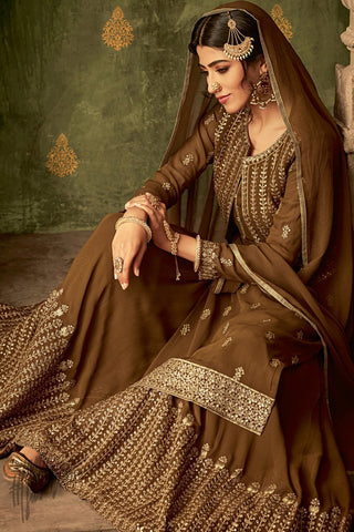Brown Georgette Koti Style Palazzo Suit