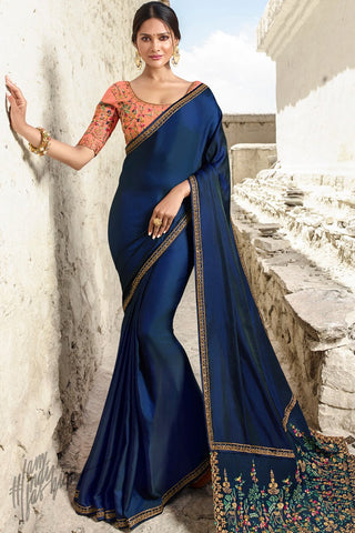 Navy Blue and Peach Barfi Silk Wedding Saree