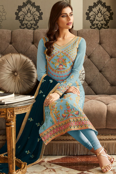 Ice and Denim Blue Georgette Straight Suit