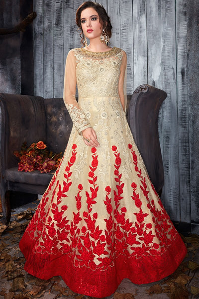 Indi Fashion Beige and Red Net Party Wear Floor Length Suit