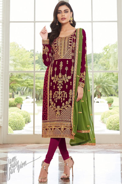 Cranberry and Mehandi Green Georgette Straight Suit