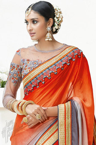 Indi Fashion Red and Gray Chinon Party Wear Saree