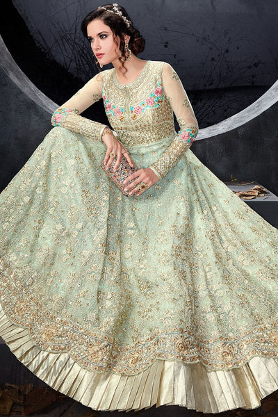 Indi Fashion Light Green Net Party Wear Floor Length Suit