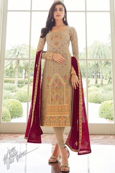 Light Mocha and Cranberry Georgette Straight Suit