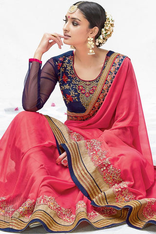 Indi Fashion Pink and Blue Georgette Party Wear Saree