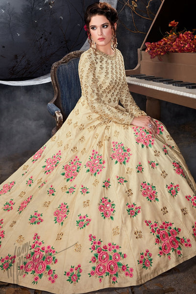 Indi Fashion Beige Silk Party Wear Floor Length Suit