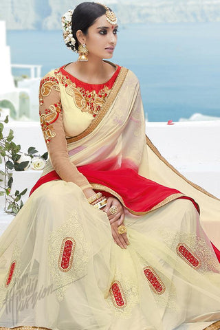 Indi Fashion Cream and Red Georgette and Net Party Wear Saree