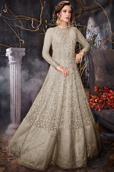 Indi Fashion Light Gray Net Party Wear Floor Length Suit