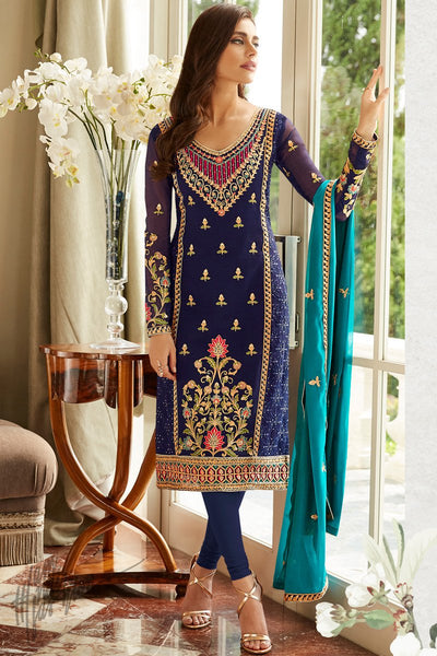 Ink and Turquoise Blue Georgette Straight Suit
