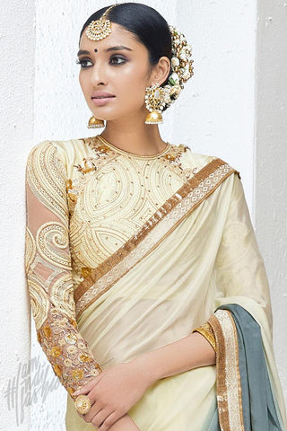 Indi Fashion Cream and Gray Crepe Party Wear Saree