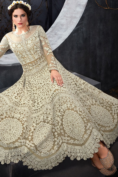 Indi Fashion White and Brown Net Party Wear Floor Length Suit