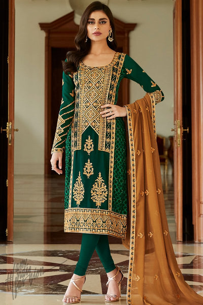 Forest Green and Brown Georgette Straight Suit