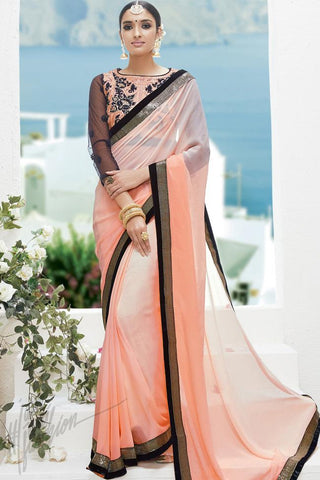 Indi Fashion Peach Georgette Party Wear Saree