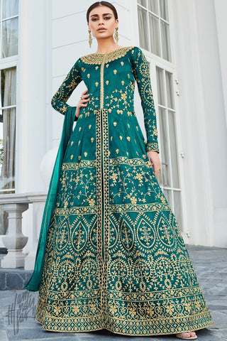 Green Mulberry Silk Lehenga Style Suit