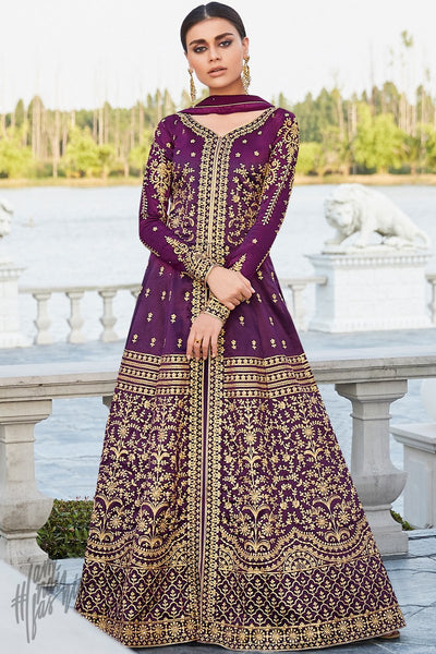 Purple Mulberry Silk Lehenga Style Suit