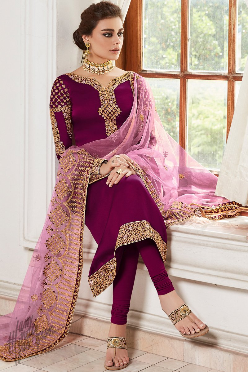 Jam Purple Satin Georgette Straight Suit