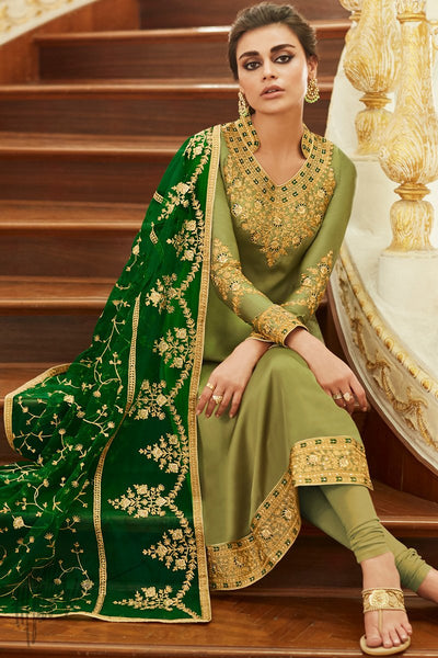 Light Olive Satin Georgette Straight Suit