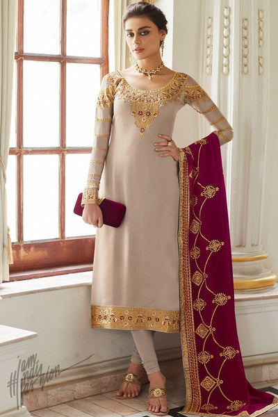 Beige Satin Georgette Straight Suit