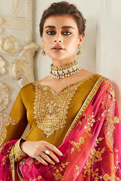 Mustard Satin Georgette Straight Suit