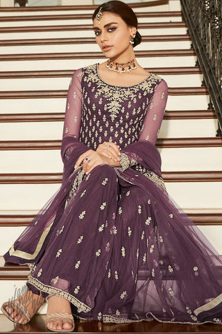Mauve Butterfly Net Sharara Suit