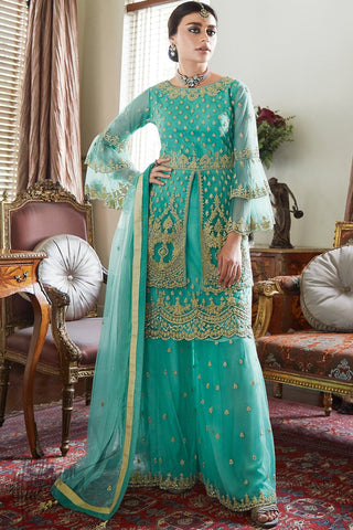 Sea Green Butterfly Net Sharara Suit