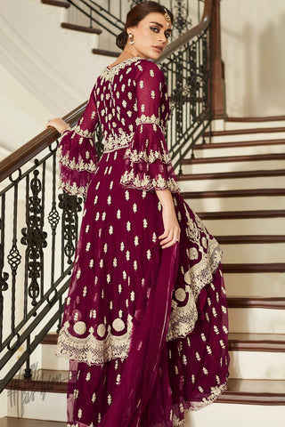 Red Wine Butterfly Net Sharara Suit
