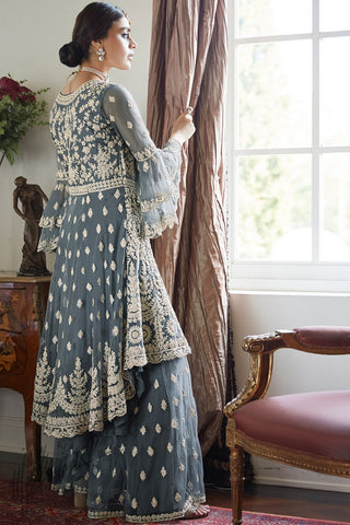 Steel Gray Butterfly Net Sharara Suit