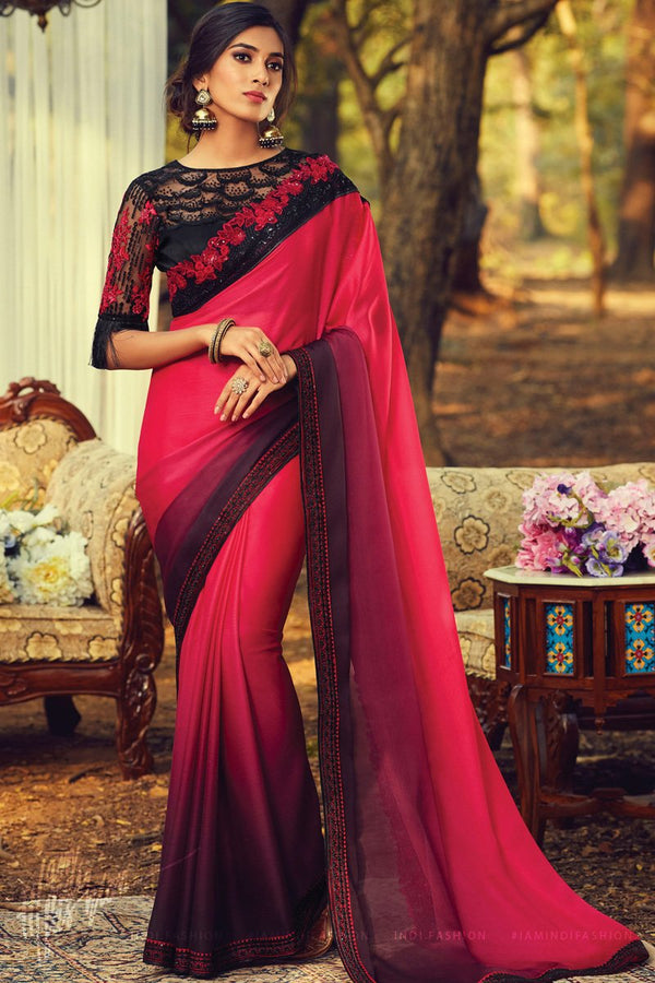 Red and Purple Ombre Silk Saree