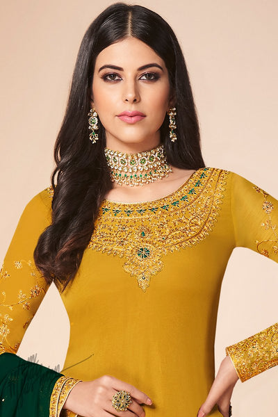 Mustard and Bottle Green Georgette Straight Suit