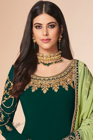 Bottle and Pista Green Georgette Straight Suit